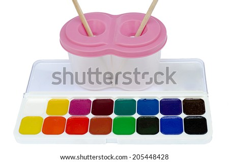 palette of paints the isolated - stock photo