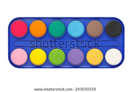 palette of watercolors isolated on white - stock photo