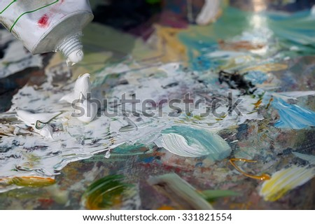 Palette with oil paints, background, texture, background, select