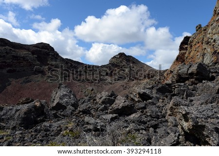 PALI AIKE, CHILE - NOVEMBER 11,2014:Extinct volcano in the national Park Pali Aike in the South of Chile.