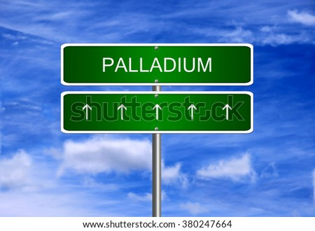Palladium price investment trading arrow going up rising strong industry bull market concept.