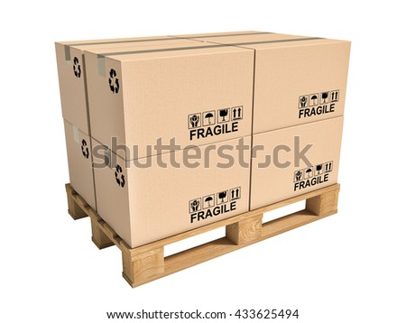 pallet and boxes isolated on white background - stock photo
