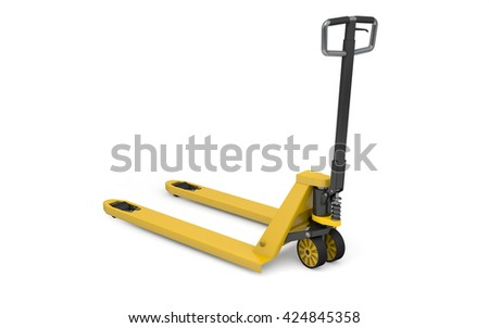 Pallet jack isolated on white with clipping path. 3d rendering - stock photo
