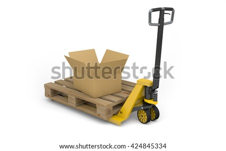 Pallet jack with pallet and cardboard box isolated on white. 3d rendering - stock photo