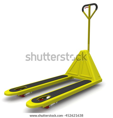pallet jack. pallet jack. yellow jack on a white surface. isolated. 3d illustration