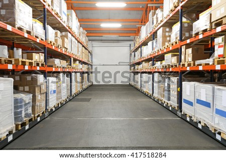 Pallet Racking Systems in Distribution Warehouse - stock photo