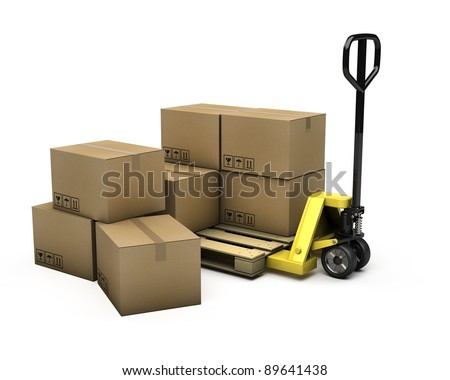 Pallet truck with pallet and boxes - stock photo