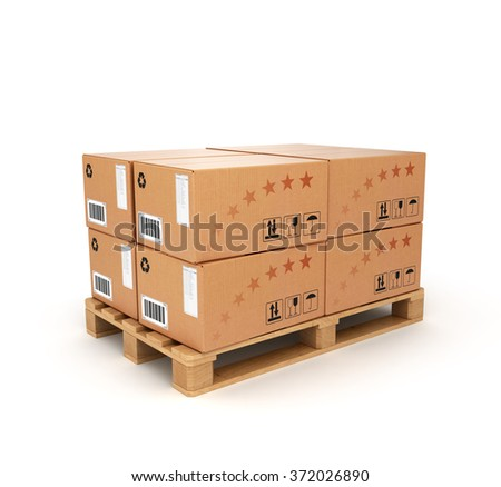 pallet with boxes on a white background - stock photo