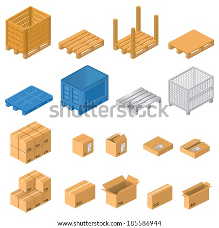Pallets and boxes - stock photo