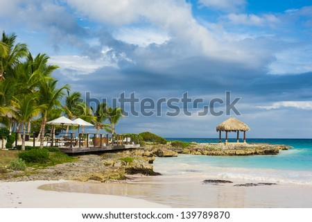 Palm and tropical beach in Tropical Paradise. Summertime holyday in Dominican Republic, Seychelles, Caribbean, Philippines, Bahamas. Relaxing on remote Paradise beach. Luxury Resort on Atlantic ocean.