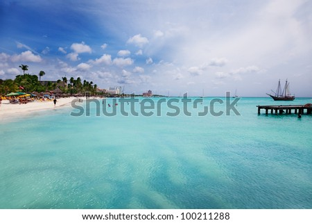 Palm Beach, Aruba, looking south toward Oranjestad - stock photo