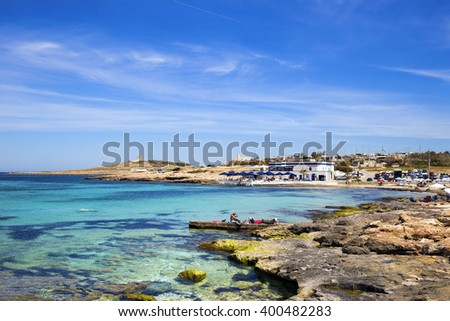 Palm beach, Malta on a sunny day with blue sky