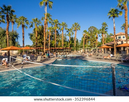 PALM DESERT, CA - NOV 13: View of the Pools at the Marriott Villas Desert Springs on November 13, 2015 in Palm Desert, California. The Marriott is popular golf and convention destination. - stock photo