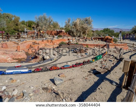 PALM DESERT, CALIFORNIA - NOV 22: Railroad and City Miniature is displayed at Living Desert Zoo on November 22, 2015 in Palm Desert, California.