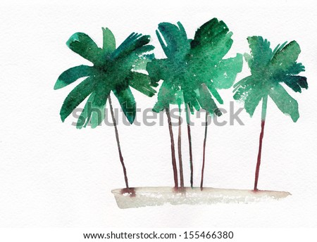 Palm grove, watercolor - stock photo