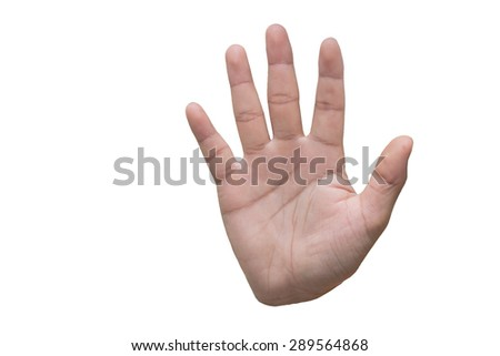 palm hand gesture on white background - stock photo