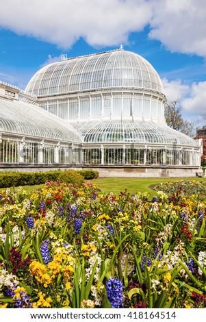 Palm House in Belfast. Belfast, Northern Ireland, United Kingdom. - stock photo