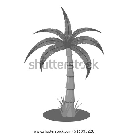 Palm icon. Gray monochrome illustration of palm  icon for web