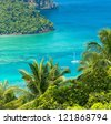Palm Island Idyllic Panorama - stock photo