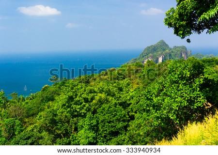Palm Island Idyllic Panorama  - stock photo