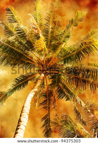 palm leaf - vintage styled picture with patina texture - stock photo