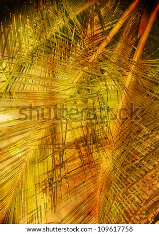 palm leaves - vintage stylized picture with patina texture - stock photo