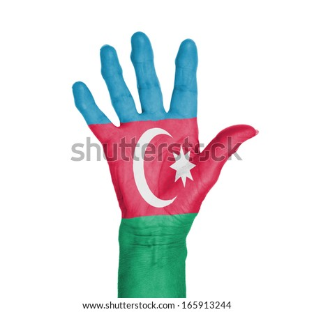 Palm of a woman hand, painted with flag of Azerbaijan