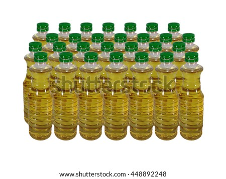 palm oil in Bottle on white background