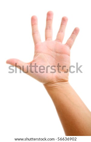 Palm open over white background. Human hand