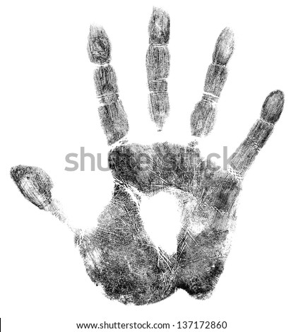 Palm or hand print isolated on white - stock photo