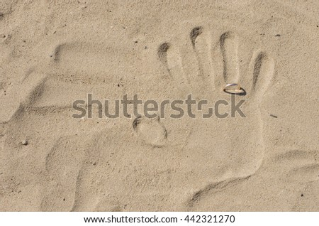 palm print on the sand