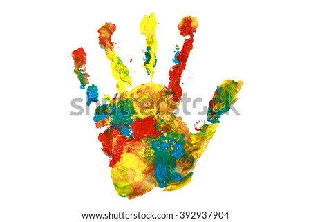 Palm print with colorful paints isolated on white. Abstract art