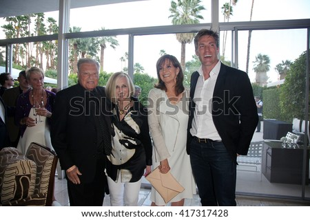 PALM SPRINGS - APR 27: Harold Matzner, Helene Galen, Linda Gray, Grafton Doyle at a cultivation event for The Actors Fund at a private residence on April 27, 2016 in Palm Springs, California - stock photo