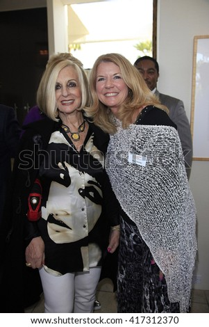 PALM SPRINGS - APR 27: Helene Galen, Meg Thomas at a cultivation event for The Actors Fund at a private residence on April 27, 2016 in Palm Springs, California - stock photo