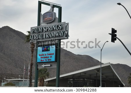 PALM SPRINGS, CA - DEC 16: Palm Springs Aerial Tramway in California, as seen on Dec 16, 2013. It is the largest rotating aerial tramway in the world. - stock photo