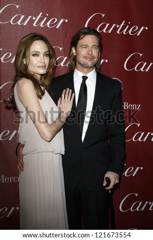 PALM SPRINGS, CA - JAN 7: Brad Pitt; Angelina Jolie at the 23rd Palm Springs International Film Festival Awards Gala at the Palm Springs Convention Center on January 7, 2012 in Palm Springs, CA - stock photo