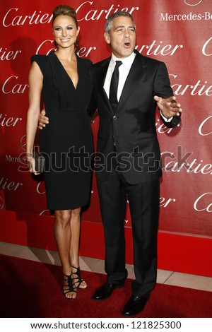 PALM SPRINGS, CA - JAN 7: Stacy Keibler; George Clooney at the 23rd Annual Palm Springs International Film Festival Awards Gala on January 7, 2012 in Palm Springs, California - stock photo