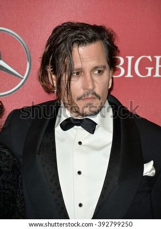 PALM SPRINGS, CA - JANUARY 2, 2016: Actor Johnny Depp at the 2016 Palm Springs International Film Festival Awards Gala - stock photo