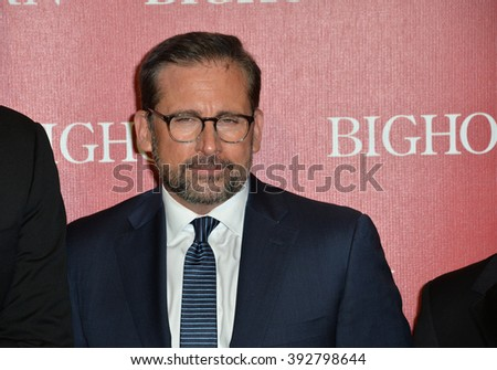 PALM SPRINGS, CA - JANUARY 2, 2016: Actor Steve Carell at the 2016 Palm Springs International Film Festival Awards Gala - stock photo