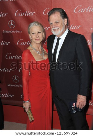 PALM SPRINGS, CA - JANUARY 5, 2013: Dame Helen Mirren & husband Taylor Hackford at the Awards Gala for the 2013 Palm Springs International Film Festival. - stock photo