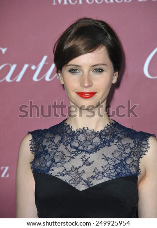 PALM SPRINGS, CA - JANUARY 6, 2015: Felicity Jones at the 2015 Palm Springs Film Festival Awards Gala at the Palm Springs Convention Centre.  - stock photo