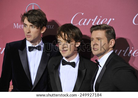 PALM SPRINGS, CA - JANUARY 6, 2015: Matthew Beard (left), Alex Lawther & Allen Leech at the 2015 Palm Springs Film Festival Awards Gala at the Palm Springs Convention Centre.  - stock photo