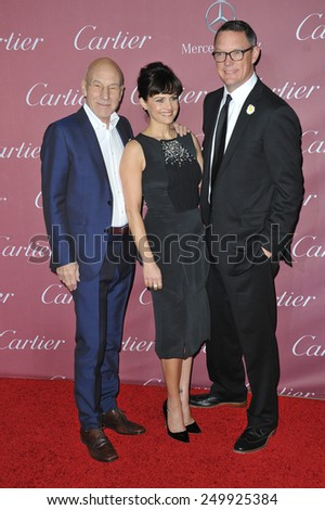 PALM SPRINGS, CA - JANUARY 6, 2015: Patrick Stewart (left), Carla Gugino & Matthew Lillard at the 2015 Palm Springs Film Festival Awards Gala at the Palm Springs Convention Centre.  - stock photo