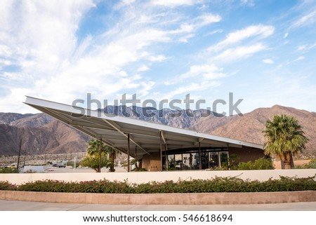 Palm Springs, CA, USA  - November 26, 2016: Visitor Center in the building of former gas station