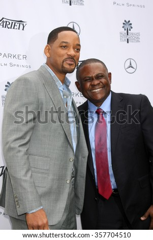 PALM SPRINGS - JAN 3:  Will Smith, Dr. Bennet Omalu at the Variety Creative Impact Awards And 10 Directors To Watch Brunch at the The Parker Hotel on January 3, 2016 in Palm Springs, CA - stock photo