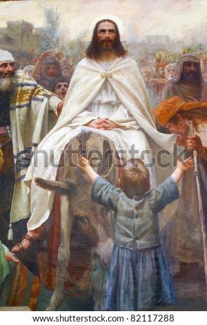 Palm Sunday - Jesus' triumphal entry into Jerusalem - stock photo
