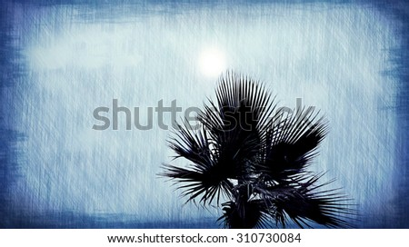 Palm tree and sun abstract blue background - stock photo