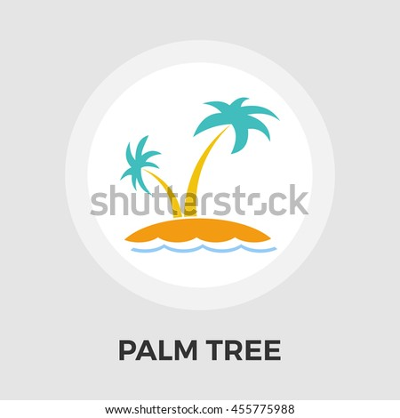 Palm Tree flat icon isolated on the white background.