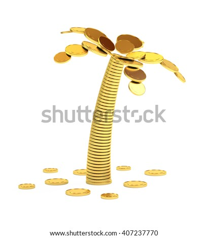 Palm tree from coins isolated on white 3d illustration. - stock photo