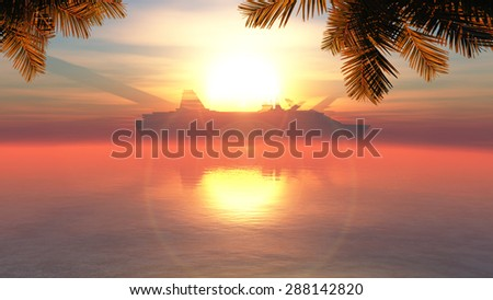 palm tree on the coast, sunset and cruise ship - stock photo